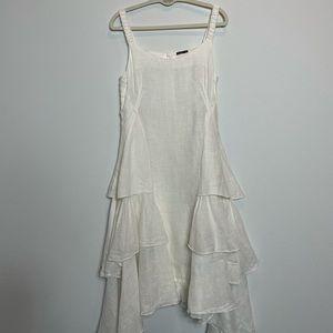 Grizas linen ruffled long dress ivory